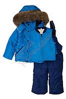 """Костюм куртка и полукомбинезон зимний для мальчика с опушкой и меховой подстёжкой""""Молнии"""" """"Botchkova"""", голубой, 80(74-98), 80 см"""