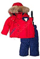 """Костюм куртка и полукомбинезон зимний для мальчика с опушкой и меховой подстёжкой""""Молнии"""" """"Botchkova"""", Красный, 74(74-98), 74 см"""