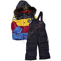 """Костюм куртка и полукомбинезон зимний для мальчика с опушкой и меховой подстёжкой""""Эмблема"""" в полоску """"Evolution"""", синий, 104(80-104), 104 см"""