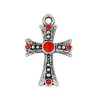 Подвеска Крест, Цинковый сплав, Античное серебро, Красные стразы, 26 мм x 17 мм