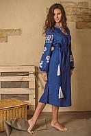 Вышитые платья в украинском стиле Цветы синие