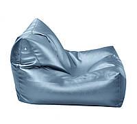 Голубое бескаркасное кресло-лежак из кож зама Зевс