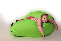Детское кресло мешок груша зеленое 100*75 см из микро-рогожки