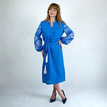 Вышитое платье в стиле бохо Мечта бирюза, фото 2