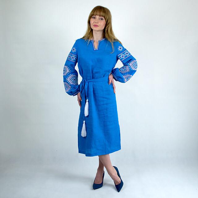 Вышитое платье в стиле бохо Мечта бирюза