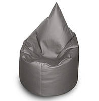Серое бескаркасное кресло мешок Капелька из кож зама Зевс