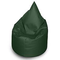 Зеленое бескаркасное кресло мешок Капелька из кож зама Зевс