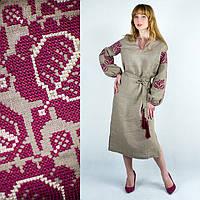 Вышитое женское платье из льна Барвинок бордо