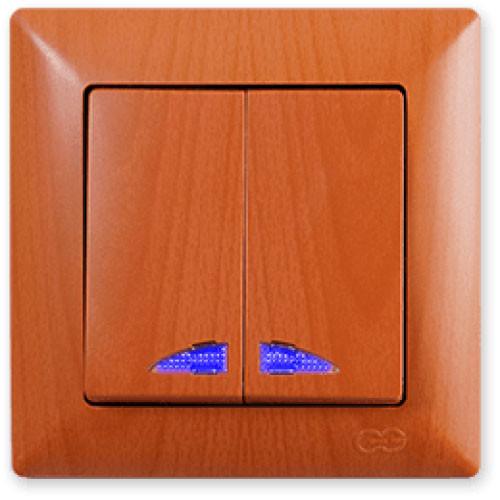 Выключатель 2-х клавишный с подсветкой Gunsan Visage Дуб