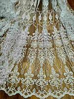 Гардина с кордовой вышивкой на фатине в гостиную Сантауэр