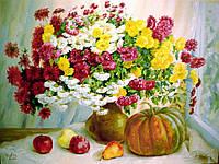 «Букет хризантем с тыквой» картина маслом