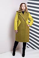 Комбинированное стеганое пальто с английским воротником