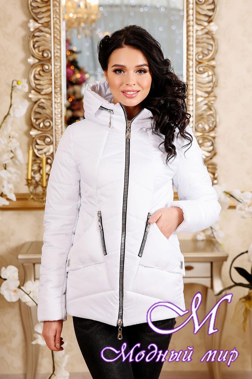 Женская белая осенняя куртка больших размеров (р. 44-56) арт. 1011 Тон 10