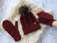 Комплект женский: шапка и варежки-митенки