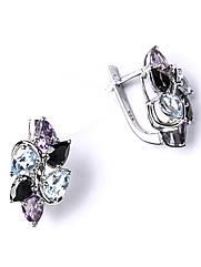Сережки срібні з аметистом, топазом і оніксом