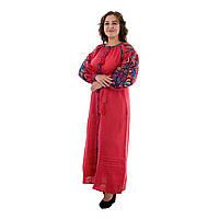 Длинное платье вышиванка из льна Колорит красное