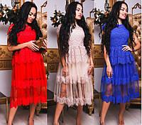 Пышное платье из французского кружева на подкладке