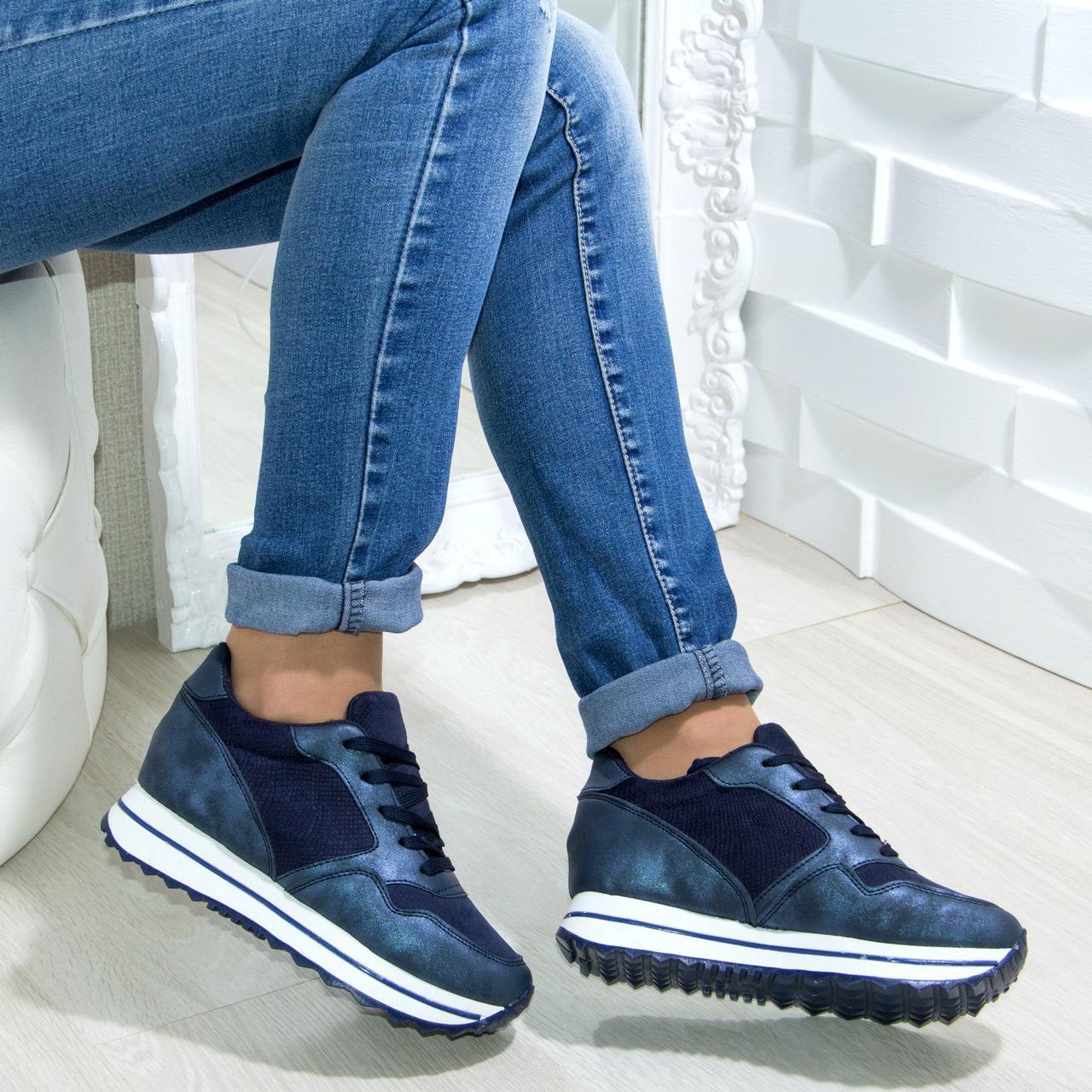 d17eec703443 Крутые кроссовки на высокой подошве Материал: эко кожа с синим напылением +  эко ...