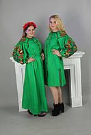 Длинное платья в украинском стиле Колорит зеленое