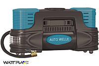 Компрессор AUTO WELLE AW01-20 автомобильный, металлический, встроенный фонарь 12V 21A 60 l/min 100PSI
