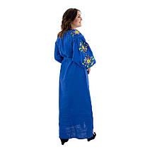 Льняное платье вышиванка Колорит синие, фото 2