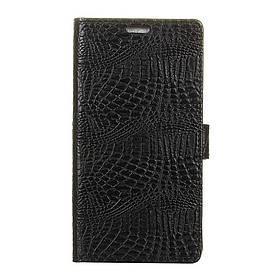 Чехол книжка для Huawei Honor 6A боковой с отсеком для визиток, Крокодиловая кожа, черный