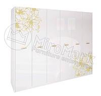 Шкаф 6-ти дверный Пиония Глянец Белый-Золото. Доставка по Украине. Гарантия качества