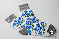 Женские носки, тёплые носки, вязанные носки, ангоровые носки с цветами