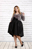 Женское вечернее платье с пышной юбкой 0729 / размер 42-74 / цвет бордо+черный