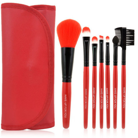 Набор кистей для макияжа в стиле Make up for you красный