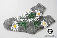 Женские носки, тёплые носки, вязанные носки, ангоровые носки с ромашками, фото 1