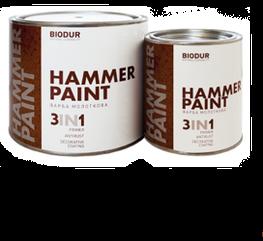 Краска для металла с молотковым эффектом Biodur 3 в 1, 0,7л серая
