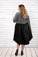 Женское вечернее платье с пышной юбкой 0729 / размер 42-74 / цвет серый+черный, фото 4