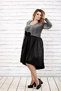 Женское вечернее платье с пышной юбкой 0729 / размер 42-74 / цвет серый+черный, фото 3
