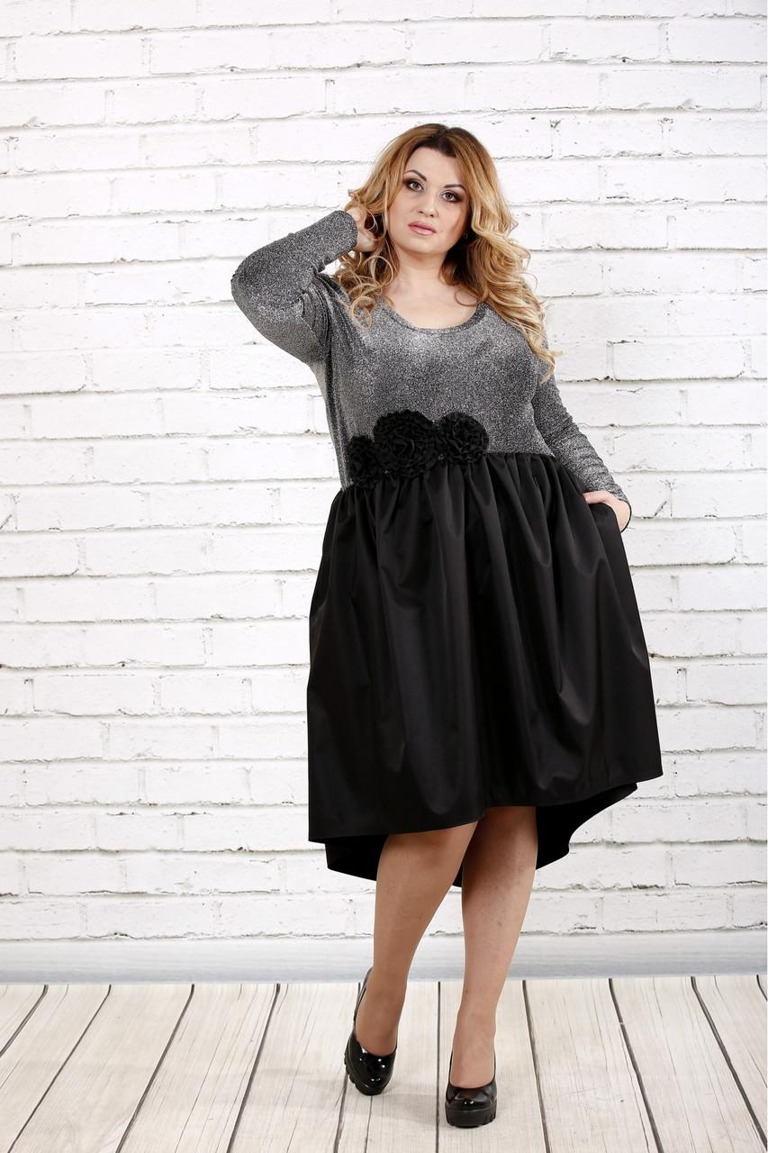 Женское вечернее платье с пышной юбкой 0729 / размер 42-74 / цвет серый+черный