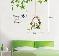 Інтер'єрна наліпка на стіну Птахи Сім'я / Интерьерная наклейка на стену Птицы Семья XC1703