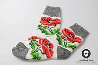 Женские носки, тёплые носки, вязанные носки, ангоровые носки с маками