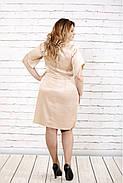 Женское атласное вечернее платье 0728 / размер 42-74 / цвет бежевый, фото 4