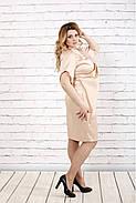 Женское атласное вечернее платье 0728 / размер 42-74 / цвет бежевый, фото 2