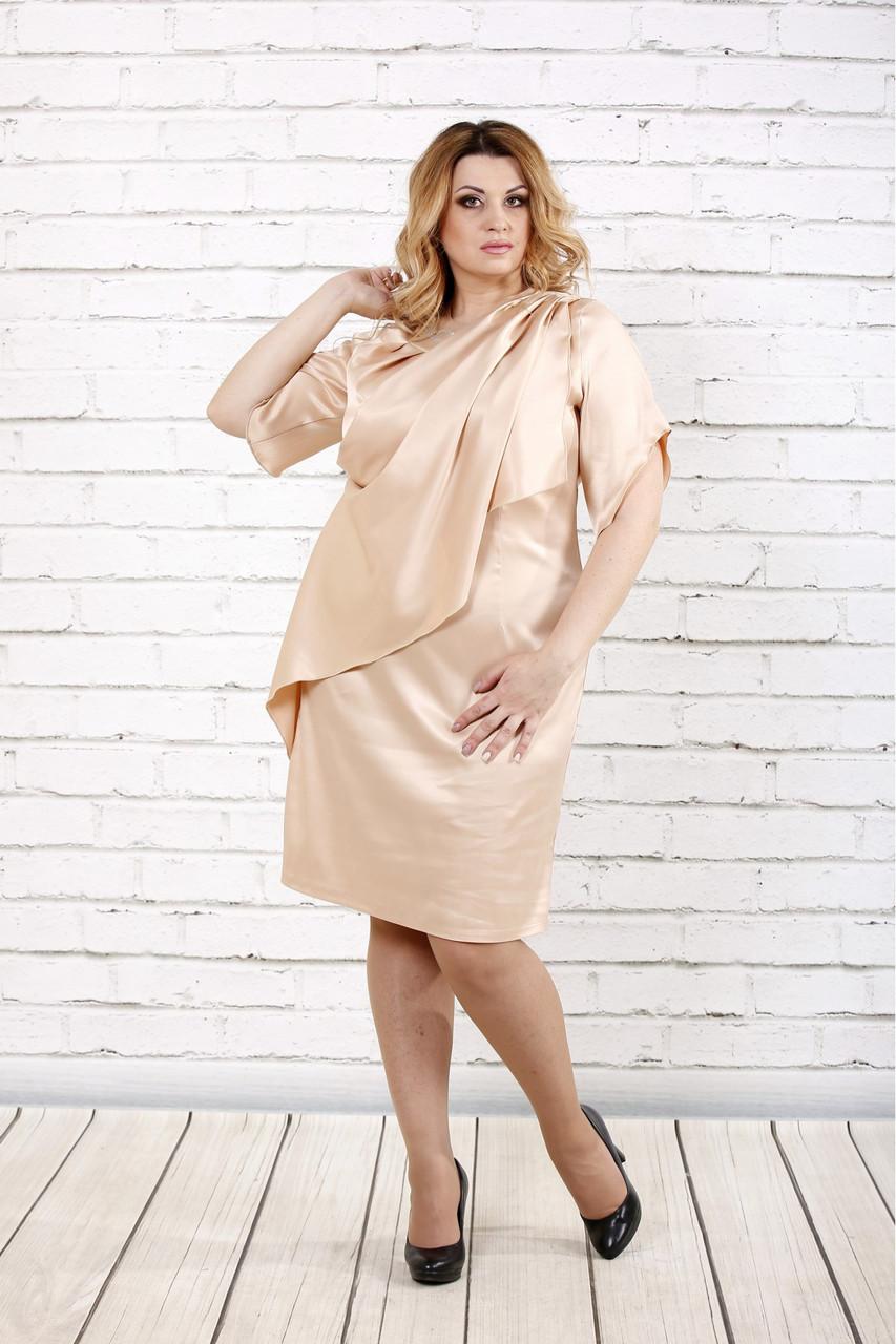 Женское атласное вечернее платье 0728 / размер 42-74 / цвет бежевый