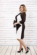 Женское стройнящее платье шоколадного цвета 0727 / размер 42-74 / батальное, фото 3