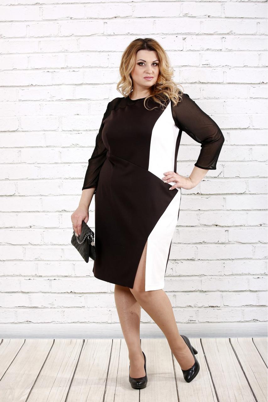 Женское стройнящее платье шоколадного цвета 0727 / размер 42-74 / батальное