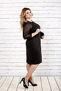 Женское стройнящее платье черно-белого цвета 0727 / размер 42-74 / батальное, фото 3
