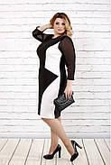 Женское стройнящее платье черно-белого цвета 0727 / размер 42-74 / батальное, фото 2