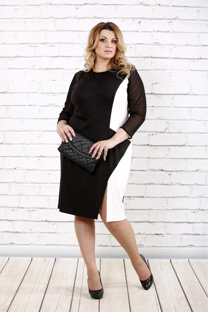 Женское стройнящее платье черно-белого цвета 0727 / размер 42-74 / батальное