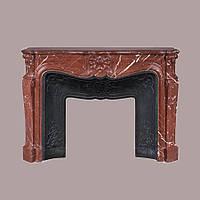 Облицовка камина красным мрамором Rosso Alicante в стиле Людовика XV: цена от изготовителя., фото 1