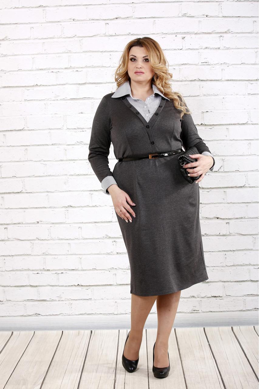 Женское строгое платье до колена 0722 / размер 42-74 / батальное