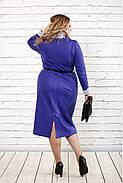 Женское строгое платье до колена 0722 / размер 42-74 / батальное / цвет электрик, фото 4