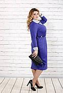 Женское строгое платье до колена 0722 / размер 42-74 / батальное / цвет электрик, фото 2