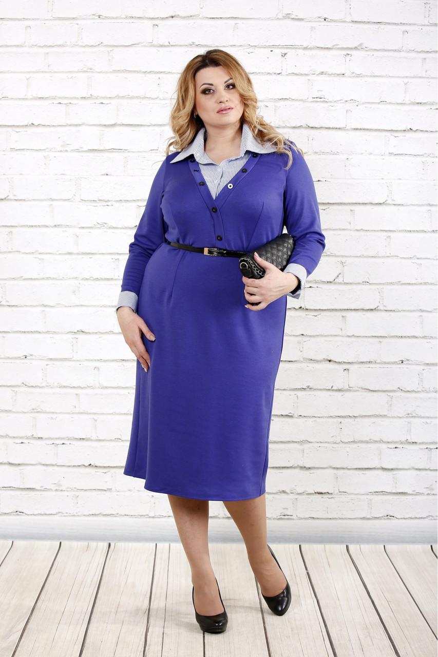 Женское строгое платье до колена 0722 / размер 42-74 / батальное / цвет электрик